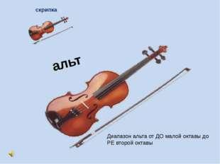 альт скрипка Диапазон альта от ДО малой октавы до РЕ второй октавы