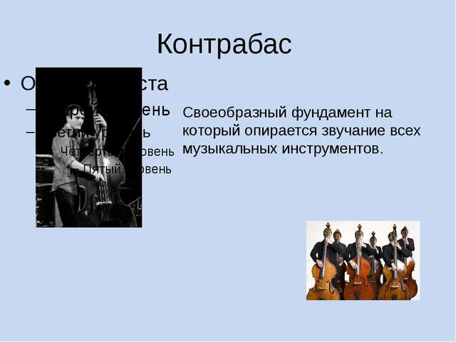 Контрабас Своеобразный фундамент на который опирается звучание всех музыкальн...