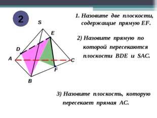 1. Назовите две плоскости, cодержащие прямую EF. 2) Назовите прямую по которо