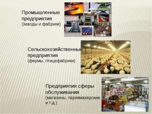 Промышленные предприятия (заводы и фабрики) Сельскохозяйственные предприятия
