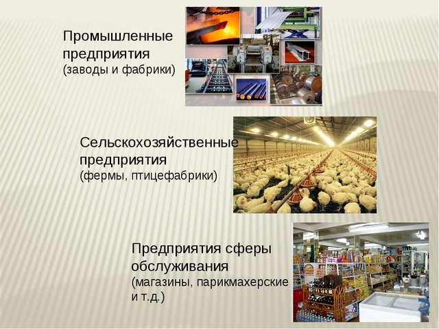 Промышленные предприятия (заводы и фабрики) Сельскохозяйственные предприятия...