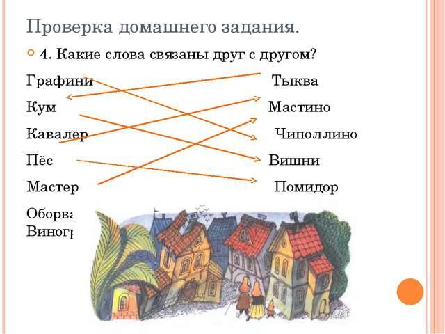Проверка домашнего задания. 4. Какие слова связаны друг с другом? Графини Тык...