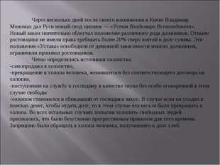 Через несколько дней после своего вокняжения в Киеве Владимир Мономах дал Ру