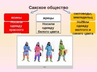 Сакское общество воины жрецы скотоводы, земледельцы Носили одежду красного цв
