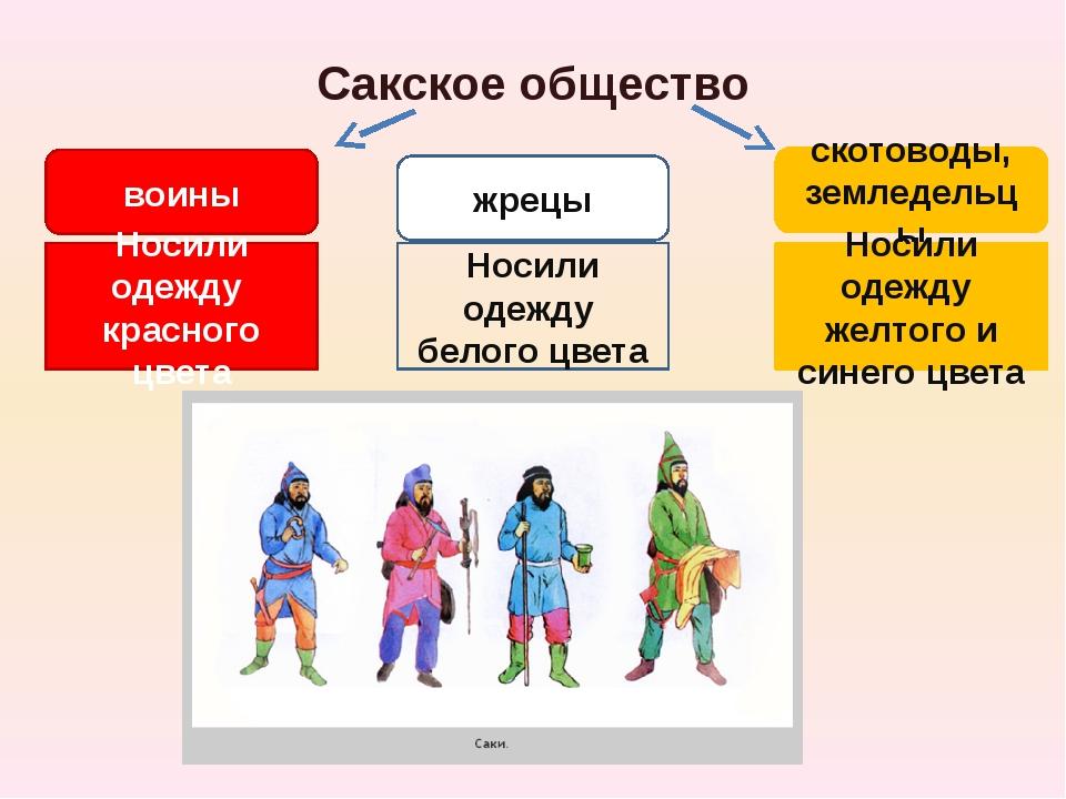 Сакское общество воины жрецы скотоводы, земледельцы Носили одежду красного цв...