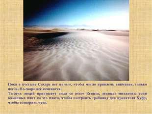 Пока в пустыне Сахара нет ничего, чтобы могло привлечь внимание, только песок