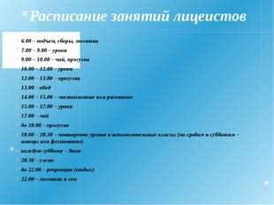 Расписание занятий лицеистов 6.00 – подъем, сборы, молитва 7.00 – 9.00 – урок