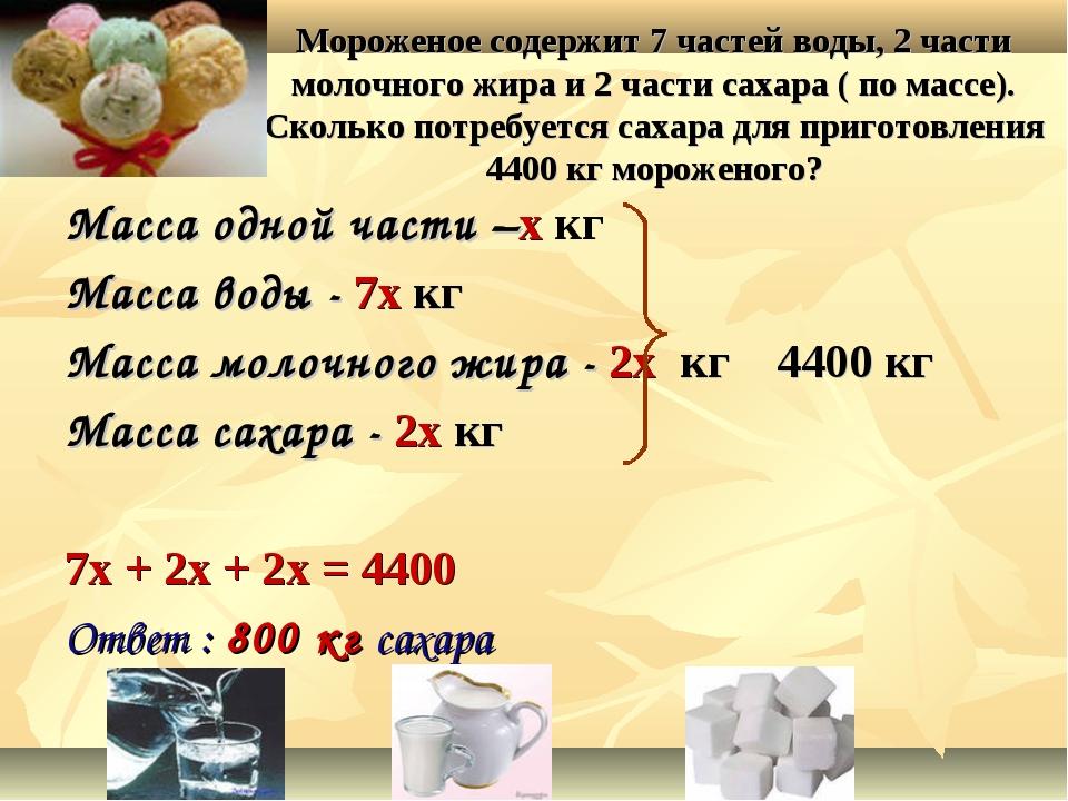 Мороженое содержит 7 частей воды, 2 части молочного жира и 2 части сахара ( п...