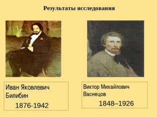 Результаты исследования Виктор Михайлович Васнецов 1848–1926 Иван Яковлевич Б
