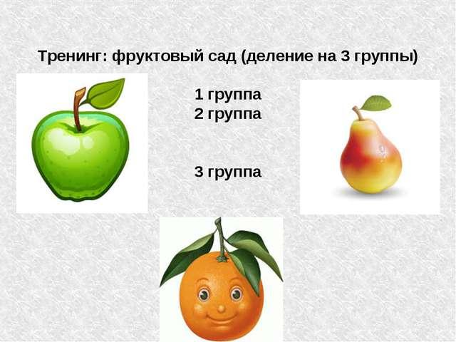 Тренинг: фруктовый сад (деление на 3 группы) 1 группа 2 группа 3 группа