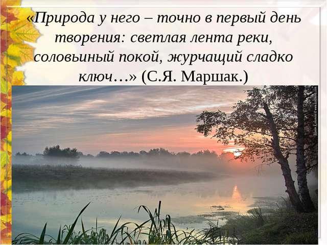 «Природа у него – точно в первый день творения: светлая лента реки, соловьины...