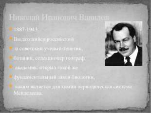 1887-1943 Выдающийся российский и советский учёный-генетик, ботаник, селекцио
