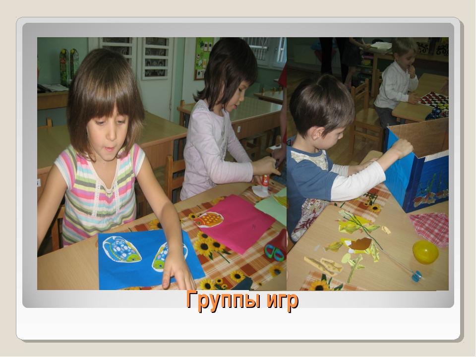 Группы игр I. Игры, сделанные на занятиях вместе с воспитателем.