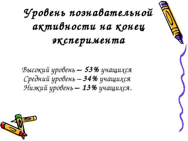 Уровень познавательной активности на конец эксперимента Высокий уровень – 53%...