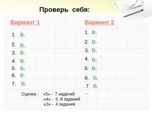 Проверь себя: Вариант 1 Вариант 2 1. 2. 2. 1. 3. 4. 5. 6. 7. 7. 6. 5. 4. 3. В