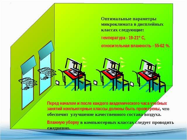 Оптимальные параметры микроклимата в дисплейных классах следующие: температу...