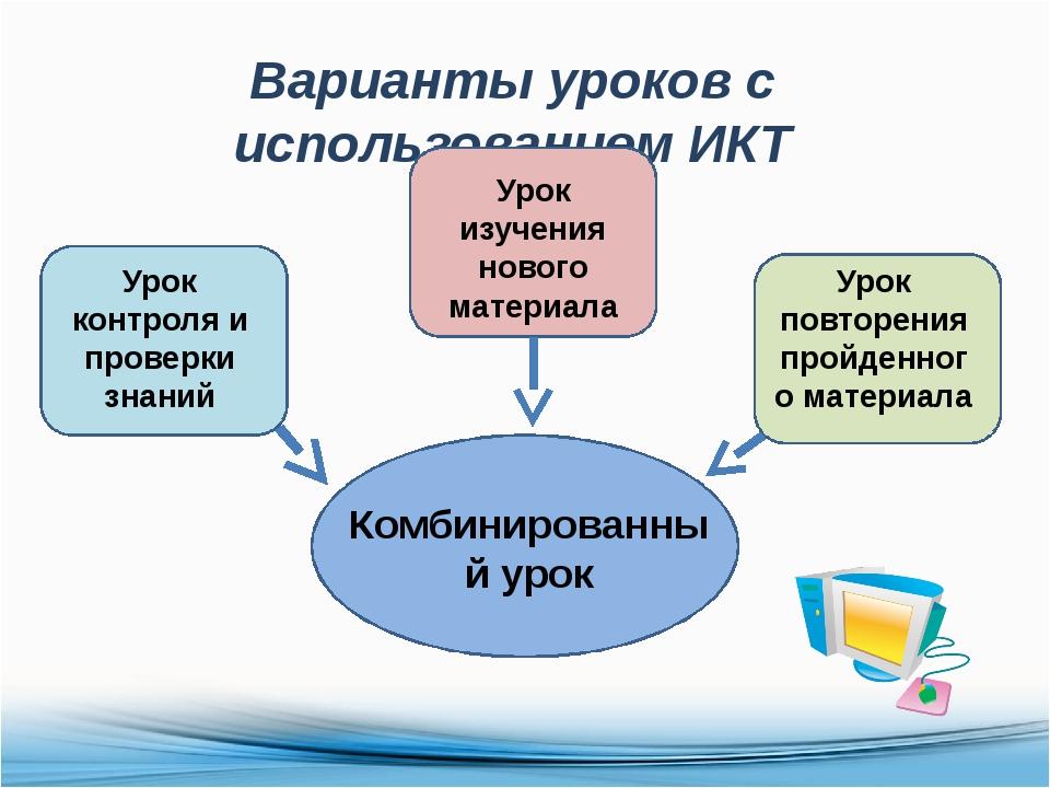 Варианты уроков с использованием ИКТ Комбинированный урок Урок контроля и про...
