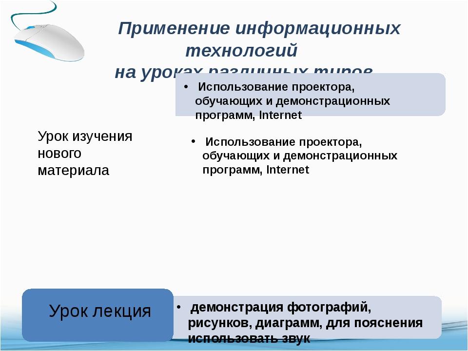 Применение информационных технологий на уроках различных типов Урок изучения...
