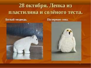 28 октября. Лепка из пластилина и солёного теста. Белый медведь. Полярная сова.