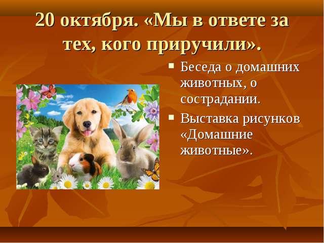 20 октября. «Мы в ответе за тех, кого приручили». Беседа о домашних животных,...