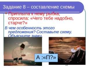 Задание 8 – составление схемы Приплыла к нему рыбка, спросила: «Чего тебе над