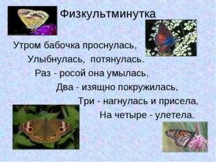 Физкультминутка Утром бабочка проснулась, Улыбнулась, потянулась. Раз - ро