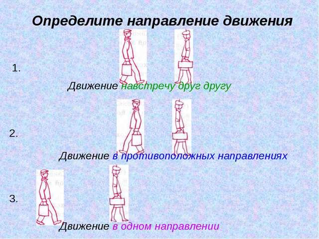 Определите направление движения Движение навстречу друг другу Движение в прот...