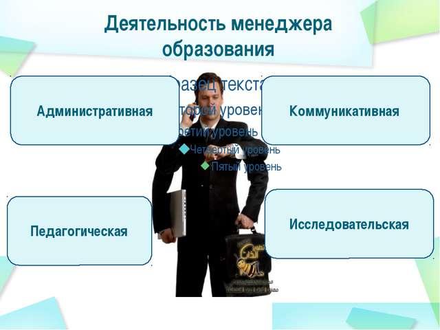 Деятельность менеджера образования Административная Исследовательская Коммуни...