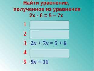 Найти уравнение, полученное из уравнения 2x - 6 = 5 – 7x 12x – 7x = 5 – 6 2