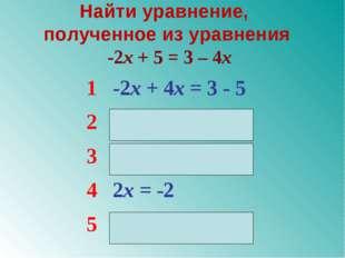 Найти уравнение, полученное из уравнения -2x + 5 = 3 – 4x 1-2x + 4x = 3 - 5