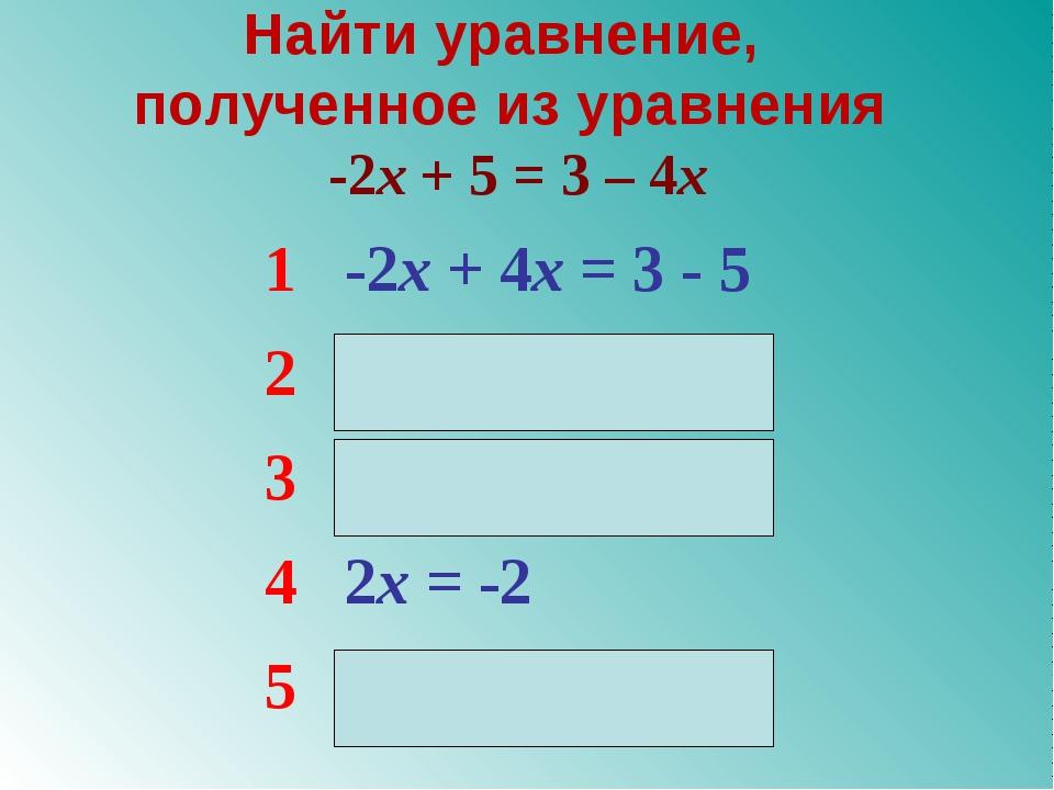 Найти уравнение, полученное из уравнения -2x + 5 = 3 – 4x 1-2x + 4x = 3 - 5...