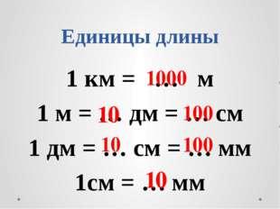 Единицы длины 1 км = … м 1 м = … дм = … см 1 дм = … см = … мм 1см = … мм 1000