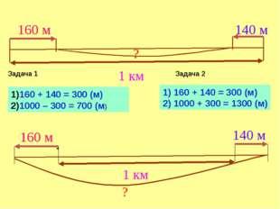 160 + 140 = 300 (м) 1000 – 300 = 700 (м) Задача 1 Задача 2 1) 160 + 140 = 300