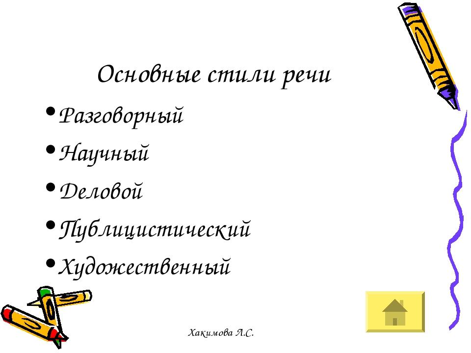Основные стили речи Разговорный Научный Деловой Публицистический Художественный