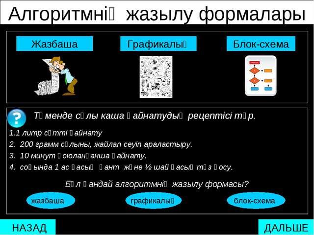 Алгоритмнің жазылу формалары  Блок-схема Графикалық Жазбаша Төменде сұлы ка...