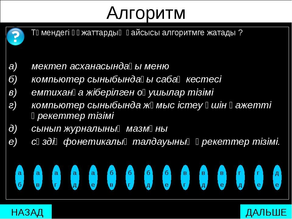 Алгоритм Төмендегі құжаттардың қайсысы алгоритмге жатады ? а) мектеп асханас...