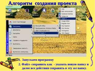 Алгоритм создания проекта Запустить программу Delphi – файл - сохранить как -