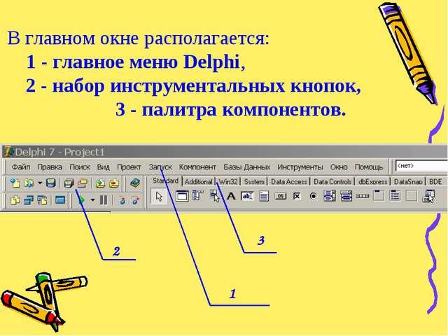 В главном окне располагается: 1 - главное меню Delphi, 2 - набор инструментал...