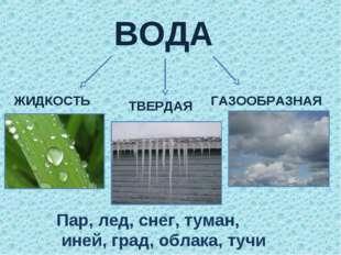 ВОДА ЖИДКОСТЬ ТВЕРДАЯ ГАЗООБРАЗНАЯ Пар, лед, снег, туман, иней, град, облака,