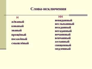 Слова-исключения Н жёваный кованый званый прощёный посажёный смышлёный НН нев