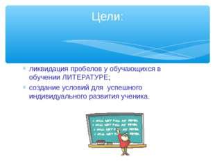 ликвидация пробелов у обучающихся в обучении ЛИТЕРАТУРЕ; создание условий для