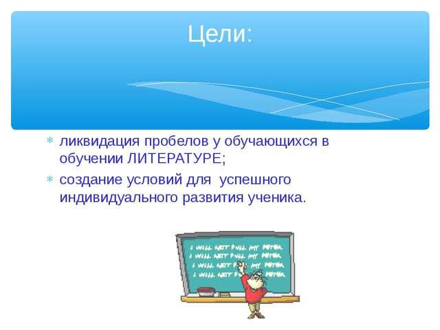 ликвидация пробелов у обучающихся в обучении ЛИТЕРАТУРЕ; создание условий для...