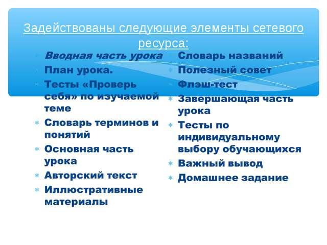 Задействованы следующие элементы сетевого ресурса: