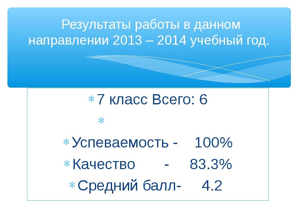 7 класс Всего: 6 Успеваемость - 100% Качество - 83.3% Средний балл- 4.2 Резул...