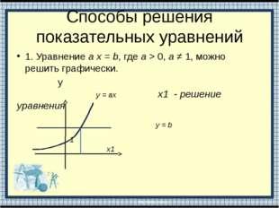 Способы решения показательных уравнений 1. Уравнение а х = b, где а > 0, а ≠