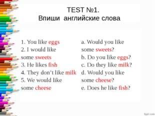 TEST №1. Впиши английские слова 1. You likeeggs 2. I would like somesweet