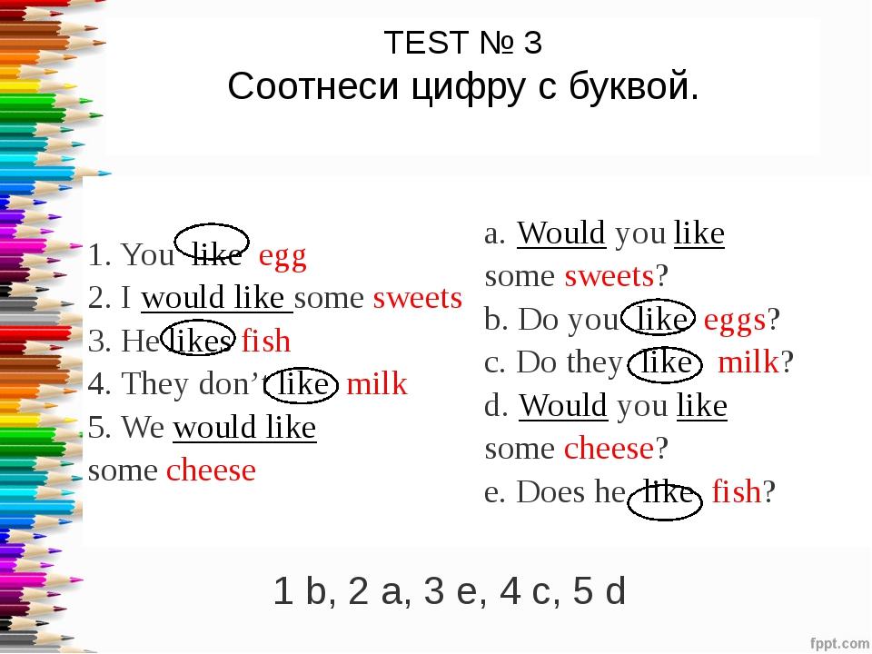 TEST № 3 Соотнеси цифру с буквой. 1 b, 2 a, 3 e, 4 c, 5 d 1.Youlikeegg 2....