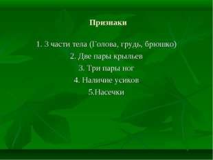 Признаки 1. 3 части тела (Голова, грудь, брюшко) 2. Две пары крыльев 3. Три