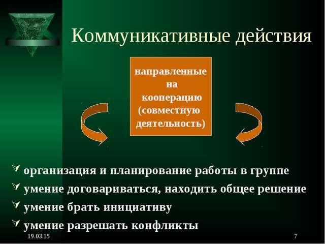 * * Коммуникативные действия организация и планирование работы в группе умени...
