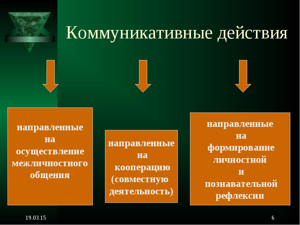 * * Коммуникативные действия направленные на осуществление межличностного общ...